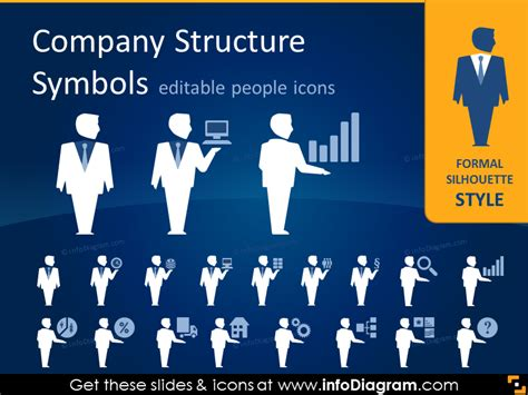 company structure people positions departments icons