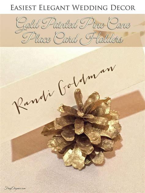 easy diy wedding decor gold pine cone place