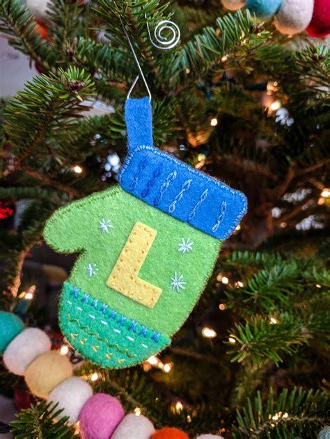cute diy felt mitten ornaments pattern  monograms merriment design