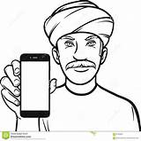 Turban Drawing Showing Smart App Mobile Line Illustration Vector sketch template