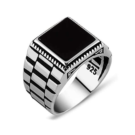 black square onyx silver mens ring boutique ottoman