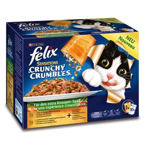 katzenfutter günstig kaufen multipack felix crunchy crumbles 10 x 100 g pouches 40 g topping g 195 188 nstig bei zooplus