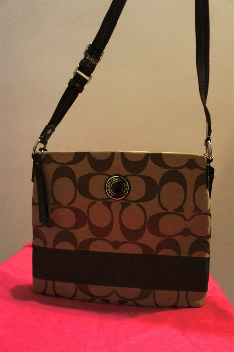 queens closet coach sling bag   brown sold