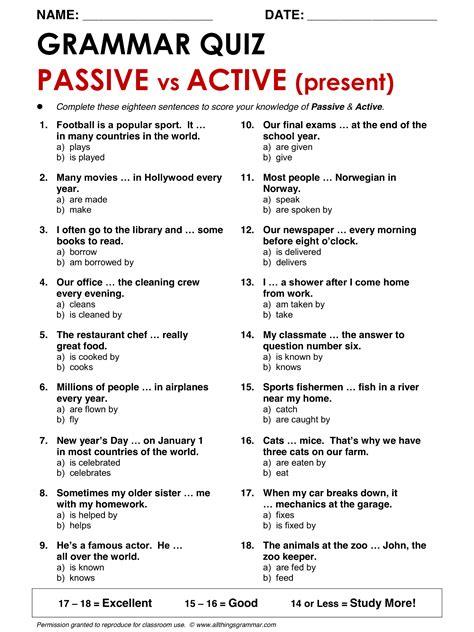 grammar passive vs active present www