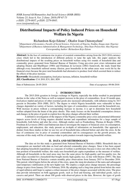 (PDF) Distributional impacts of Policy induced Prices on