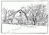 Coloring Barn Printable Farm Colouring Animals sketch template