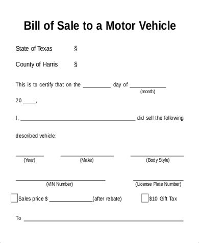sample motorcycle bill  sale templates  ms