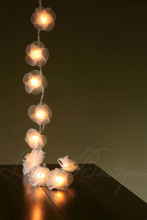 20 White Nylon Rose Flower Led String Fairy Lights