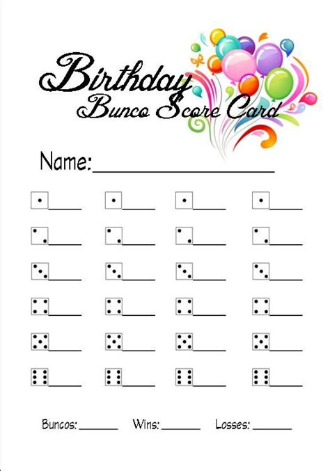 bunco score card templates