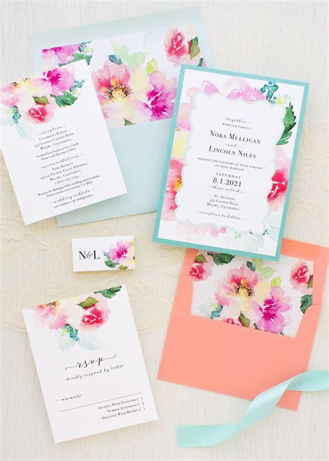 Seafoam Floral Wedding Invitations Wedding invitation
