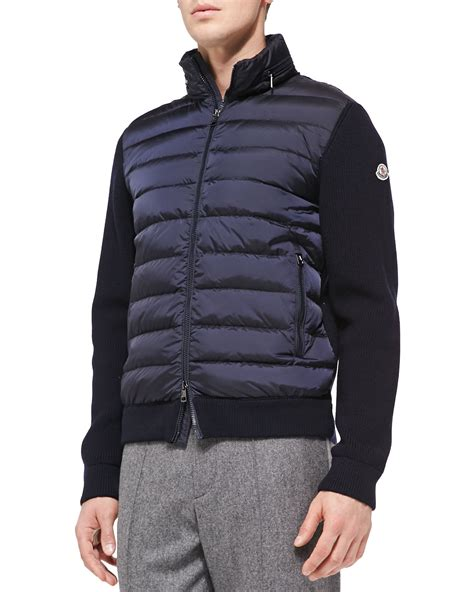moncler sweater moncler quilted front zip sweater in blue for lyst