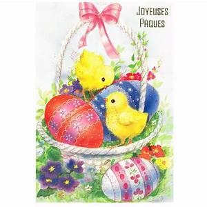 Joyeuses Paques Images : carte postale joyeuses paques poussins et oeufs decores ~ Voncanada.com Idées de Décoration