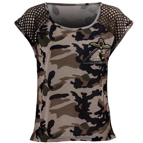 damen shirt mit netz camouflage t shirt top oberteil