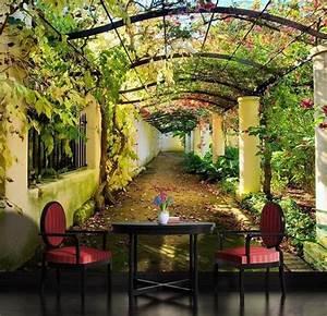 Garden Pergola 3D Mediterranean Arbor Full Wall Mural ...
