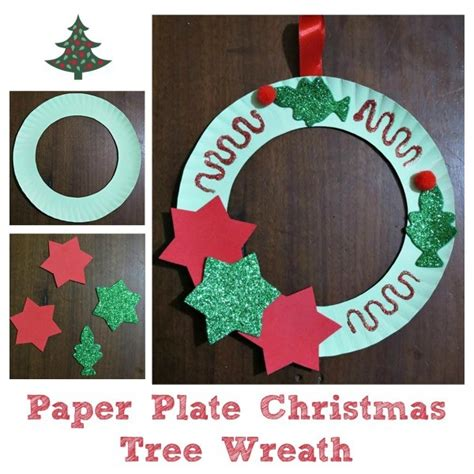 making  paper plate christmas tree wreath thriftyfun
