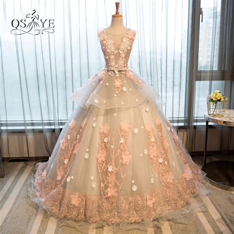 Vintage Ball Gown Long Prom Dresses With Pink 3d Floral