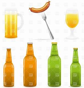 Beer bottles with glasses and sausage Vector Clipart Image ...