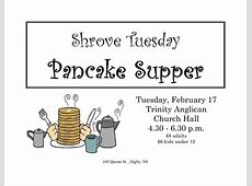Shrove Tuesday Pancake Supper at Trinity Anglican Church