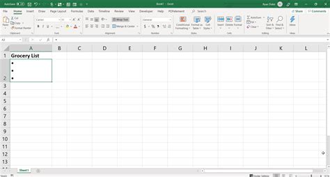 add bullet points  excel