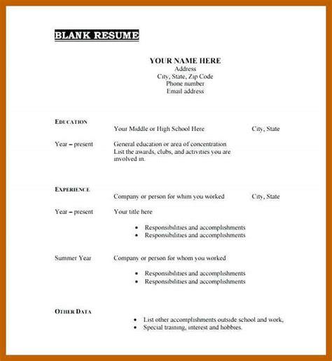 Free Basic Templates by 9 10 Blank Basic Resume Templates Cvideas