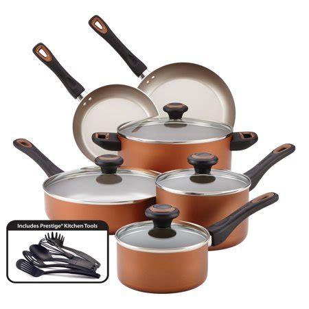 farberware high performance nonstick  piece cookware set copper walmartcom