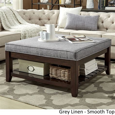 Using An Ottoman As A Coffee Table by Lennon Espresso Planked Storage Ottoman Coffee Table By