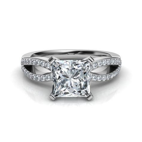 princess cut split shank engagement ring natalie diamonds