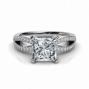 Princess cut split shank engagement ring for Split shank engagement ring with wedding band