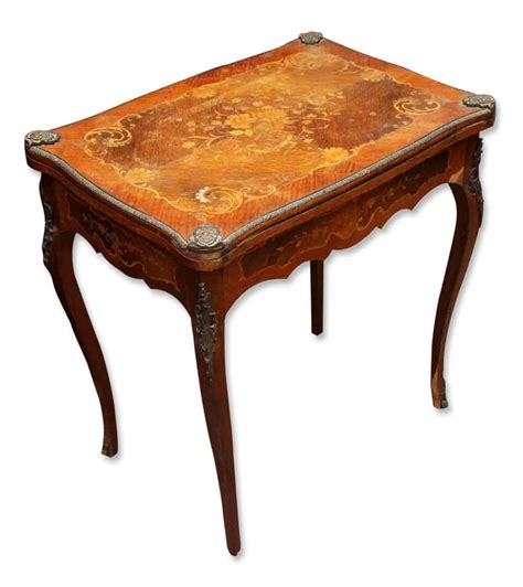 Living Room Antique Side Tables inlaid side table with bronze ormolou on edges olde