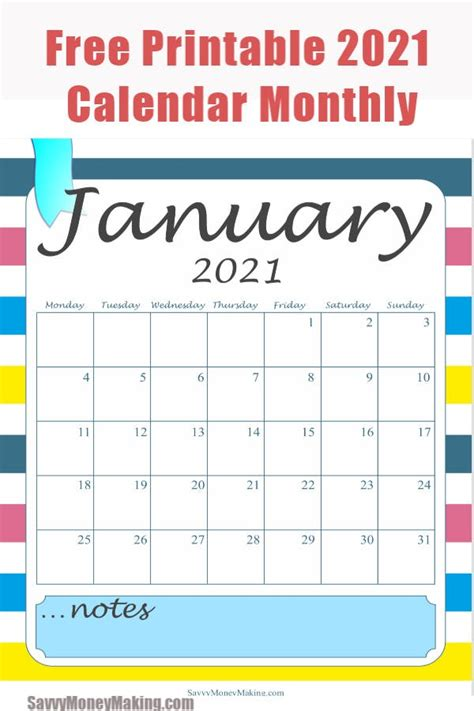 It can be printed as needed, as many copies as needed. 2021 Monthly Calendar Printable - Free Monthly Calendar Pages - Savvy Money Making