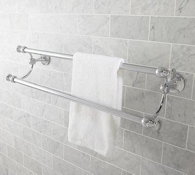 mercer double towel bar  satin nickel finish