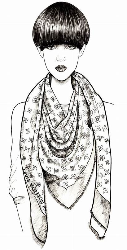 Louis Vuitton Illustration Scarves Sketches Coloring Drawing