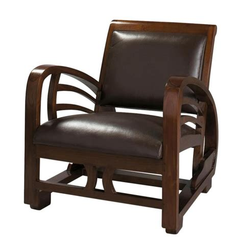 chaise cuir marron split leather armchair in brown charleston maisons du monde