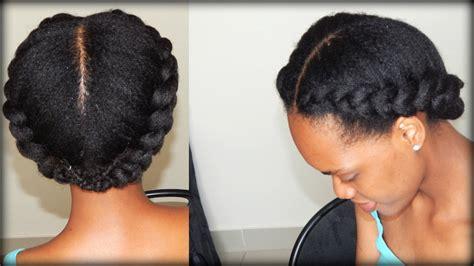 Natural Hair| 2 Side Braids (4b/4c Hair)