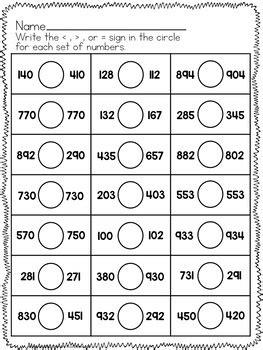simple comparing numbers worksheets  digit numbers