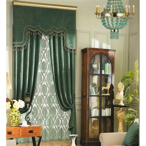 vintage green curtain chenille fabric no valance