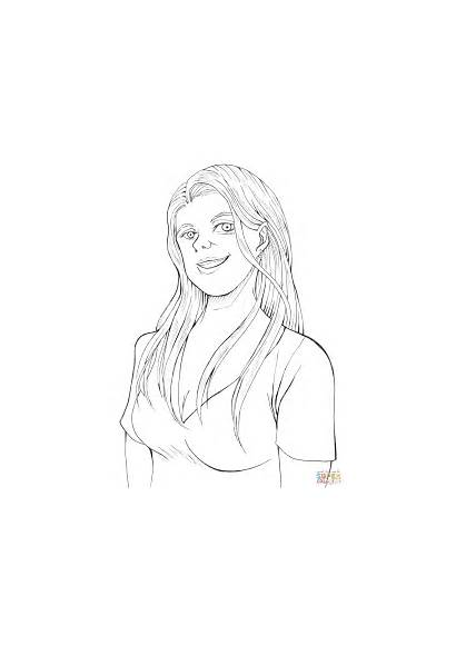 Coloring Woman Smiling Pages Printable Drawing Domain