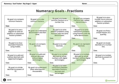 goal labels fractions key stage  upper teaching