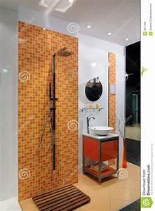 Salle De Bain Orange : salle de bains orange moderne image stock image 8511481 ~ Preciouscoupons.com Idées de Décoration