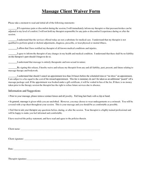 Massage Client Waiver Form picture | Massage Therapy