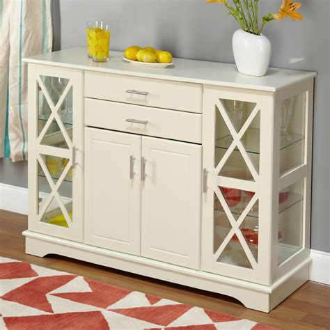 Sideboard Buffet Cabinet by White Wood Buffet Sideboard Cabinet With Glass Display
