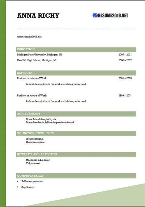 resume format 2018 20 free to word templates