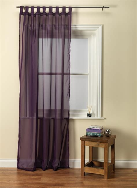 purple tab top voile panel from net curtains direct