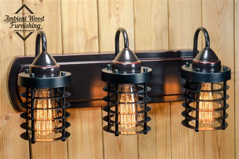 Bath Vanity Light Fixtures by Industrial Bathroom Vanity Cage Light Fixture Bar Light