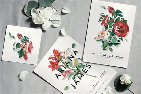 Modern Vintage Floral Wedding Invitation Suite Graphic By
