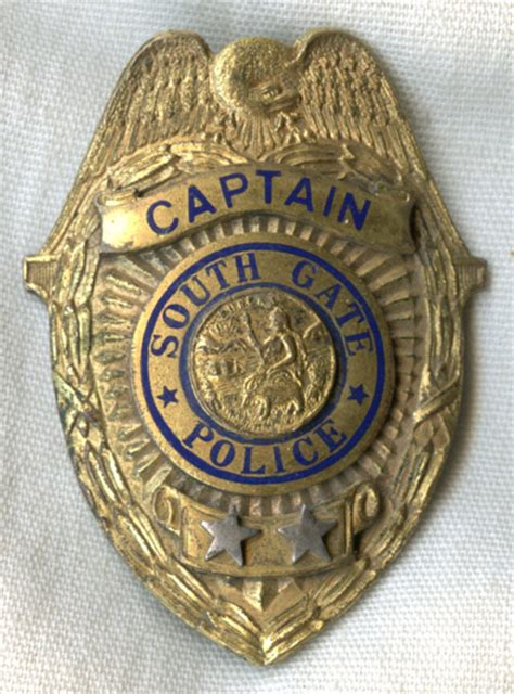 great  south gate california police captain badge
