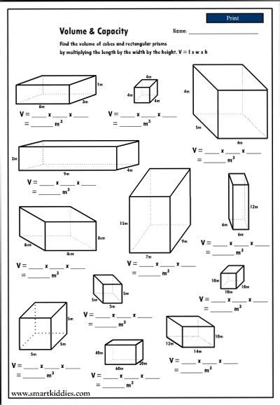 maths volume worksheets year 6 calculating the volume of rectangular prisms mathematics skills 6th grade math math