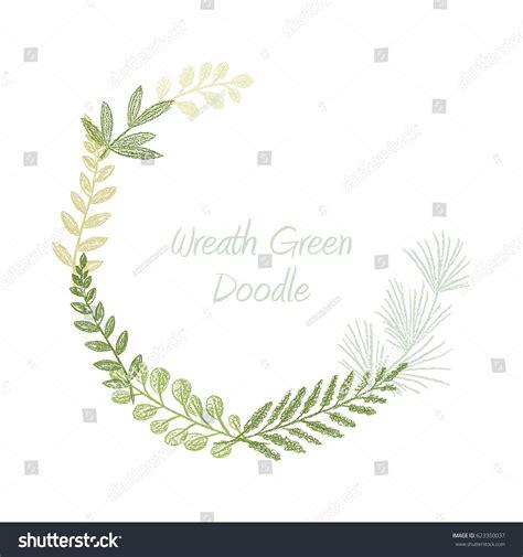 Greenery scribble hand drawn foliage border vector