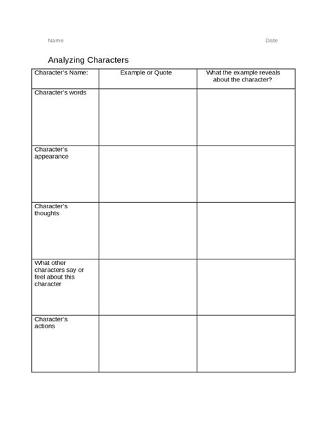 character chart template character analysis template 2 free templates in pdf word excel