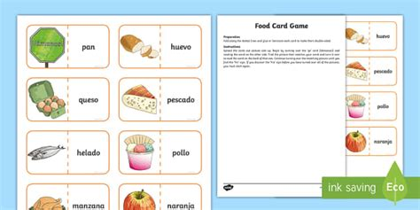 Different Food Card Game